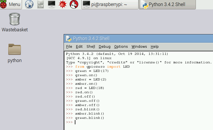 typing in the python shell