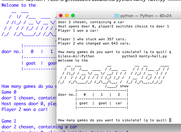 Monty Hall simulation running in OS X terminal and IDLE