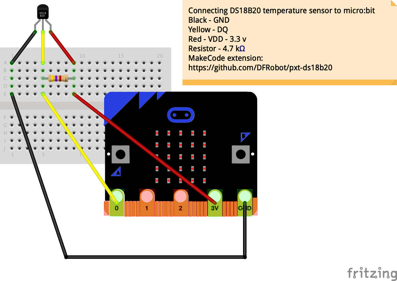 Connect DS18B20 temperature sensor to micro:bit « Blog My Wiki!