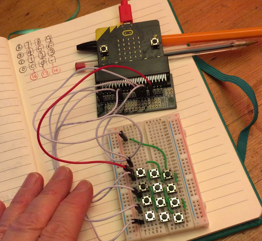 micro:bit connected to a home-made keypad matrix