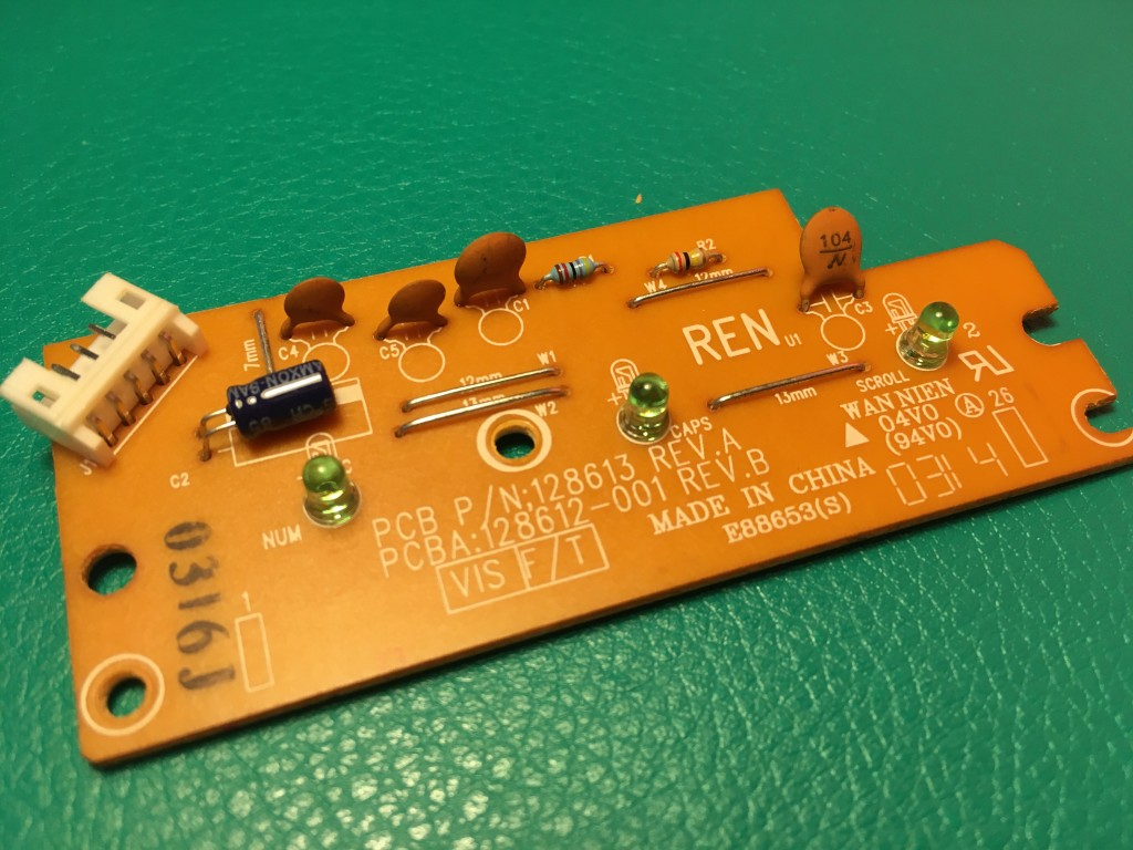 detail of keyboard control PCB
