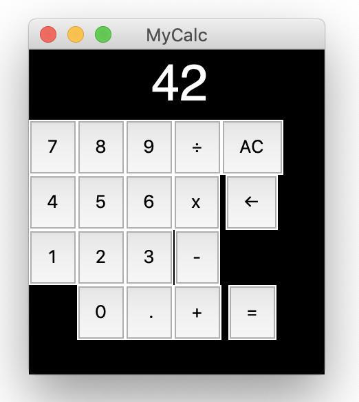 GUI calculator screenshot