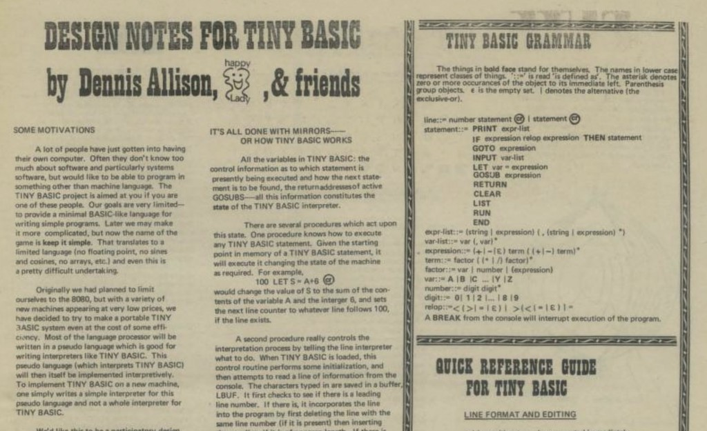 PCC magazine article September 1975 on TinyBASIC