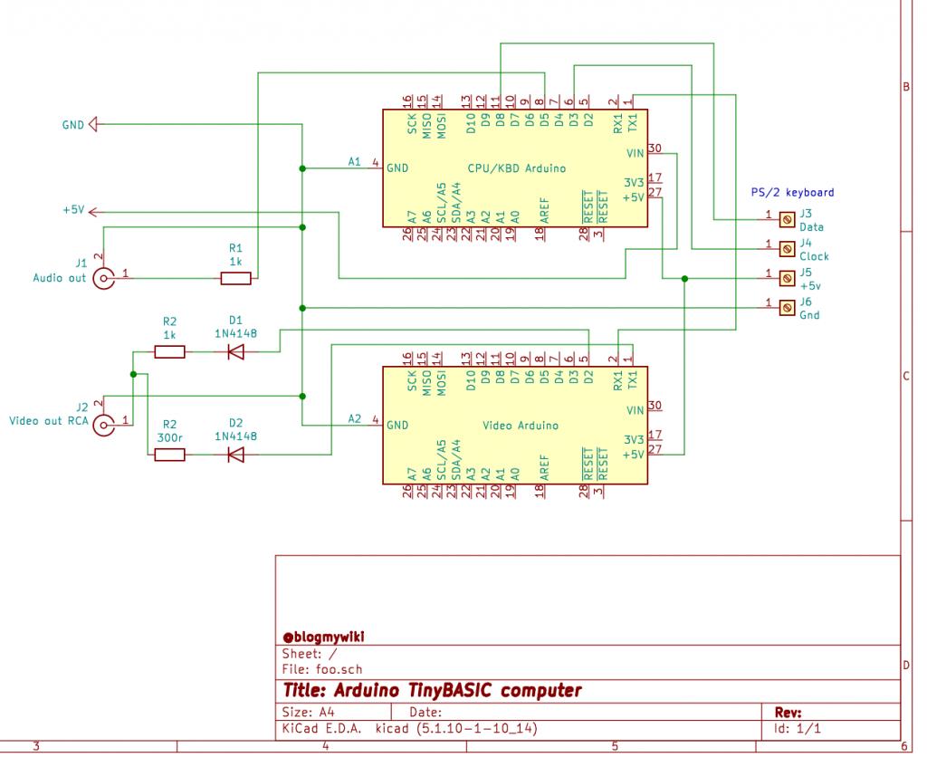 schematic of computer with 2 Arduinos