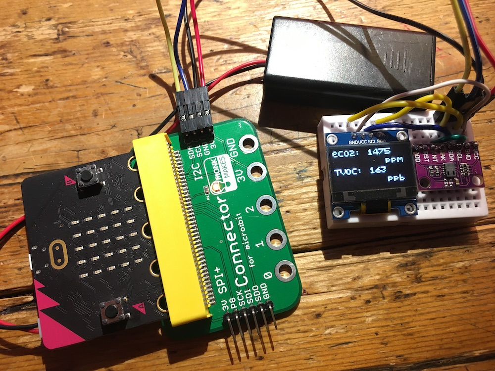 microbit air quality monitor with OLED display